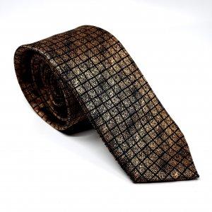 Dodatki Elegancki Krawat Złoty Kratka