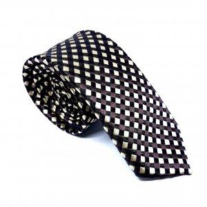 Dodatki Elegancki Krawat Beżowo Brązowy Krata