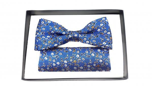 Dodatki Mucha z Poszetką Niebieska Kwiatki