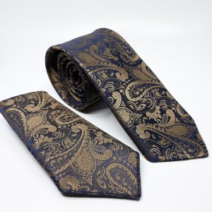 Dodatki Ślubny Krawat z Poszetką Gabriel Złoto