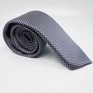 Dodatki Elegancki Krawat Granatowo Biały