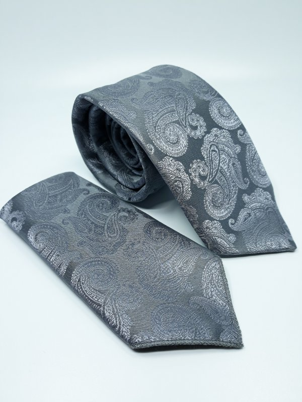 Dodatki Elegancki Krawat z Poszetką Popielaty Turecki Wzór