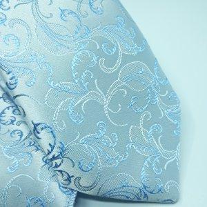 Dodatki Ślubny Krawat z Poszetką Szaro Niebieski