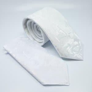 Dodatki Ślubny Krawat z Poszetką Biały Turecki Wzór
