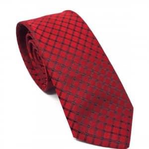 Dodatki Elegancki Krawat Czerwony w Czarną Kratkę