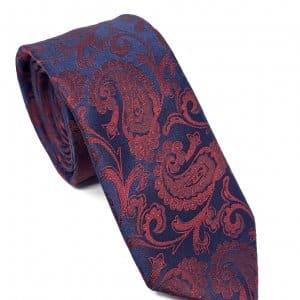 Dodatki Elegancki Krawat Granatowo Bordowy Wzór