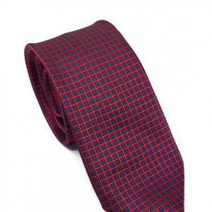 Dodatki Elegancki Krawat Czerwono Granatowy