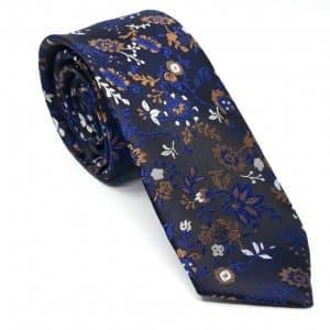Dodatki Elegancki Krawat Brązowo Granatowy Wzór