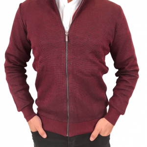 Sweter Na Zamek Bordowy Kudi