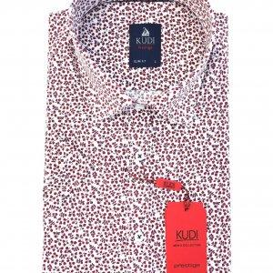 Koszula Kudi Slim Fit Czerwone listki