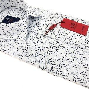Koszula Kudi Slim fit biała granatowe sople