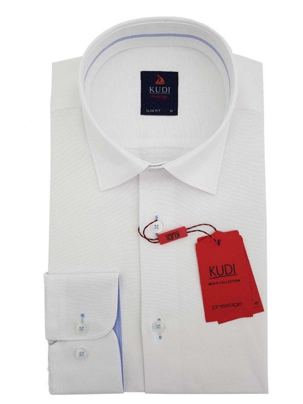 Koszule długi rękaw Koszula Kudi Biała