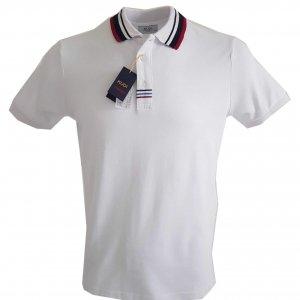 Koszulki Polo Koszulka Polo Biało Bordowa