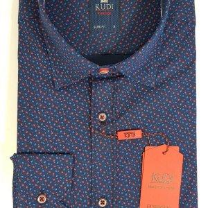 Koszula Kudi Slim fit granatowa w czerwono-niebieskie kreski
