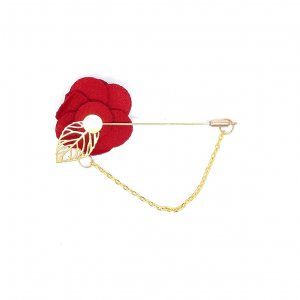 Dodatki Pin Przypinka Kwiatek Czerwony Łańcuszek