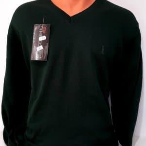 Sweter ciemna zieleń serek bawełna