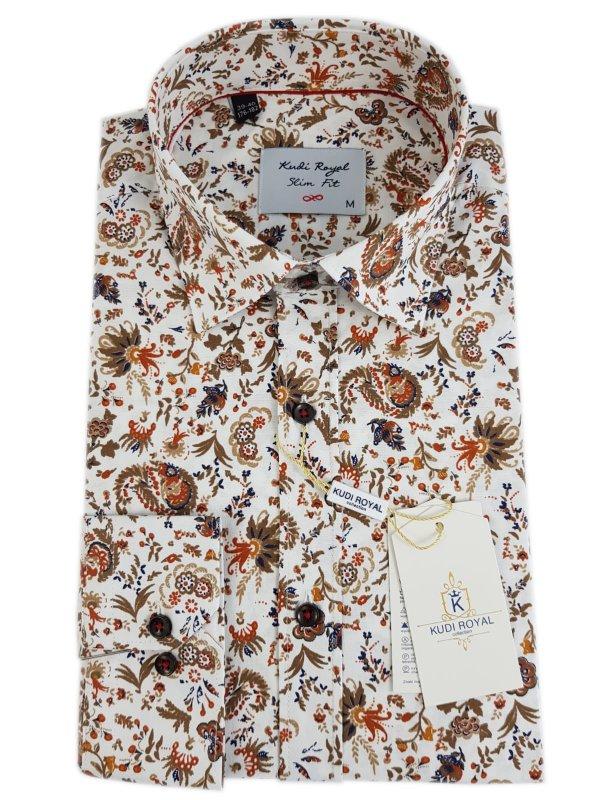 Koszule długi rękaw Koszula Kudi Wzór Brąz