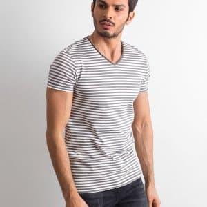 T-shirty Biało-szary t-shirt męski w paski