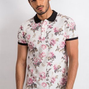 Koszulki Polo Koszulka Polo Beżowa Kwiaty