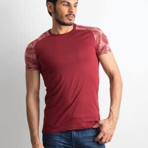 T-shirty Bordowy t-shirt męski z nadrukiem na rękawach