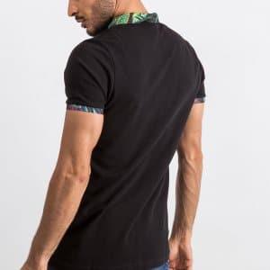 Koszulki Polo Koszulka Polo Czarna Kolorowy Kołnierzyk