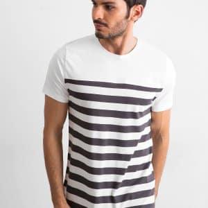 T-shirty Ecru męski t-shirt w paski