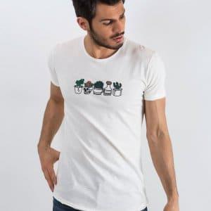 T-shirty Ecru t-shirt męski Embroider Bawełniany