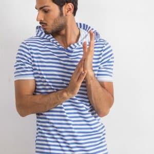 T-shirty T-shirt męski Biało Niebieski Kaptur