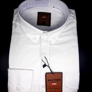 Koszule długi rękaw Koszula Męska Lniana Biała