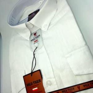 Koszula Męska Lniana Biała Slim