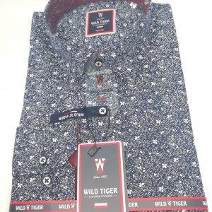 Koszula Wild Tiger Slim Fit Granatowa Kwiatuszki
