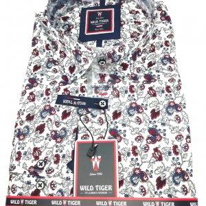 Koszula Wild Tiger Slim Fit Bordo Wzór