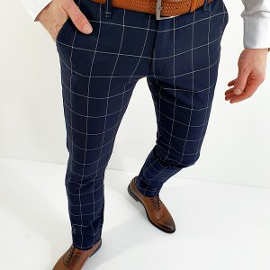 Spodnie Slim Fit Krata Granatowe Kudi