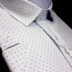 KOSZULE KRÓTKI RĘKAW Koszula Kudi Biała Niebieskie Kropki