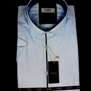 KOSZULE KRÓTKI RĘKAW Elegancka Koszula Kudi Niebieska