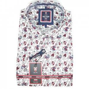 Koszule długi rękaw Koszula Męska Bordo Wzór