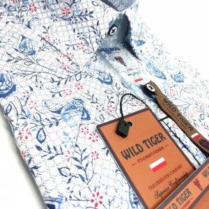 KOSZULE KRÓTKI RĘKAW Koszula Wild Tiger Niebieski wzór