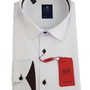 Koszule długi rękaw Koszula Kudi Biała Długi Rękaw