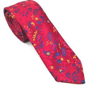 Krawaty Elegancki Krawat Czerwony Niebiesko Żółty Wzór