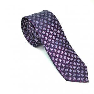 Krawaty Elegancki Krawat Granatowy Różowy Wzorek