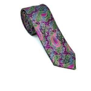Krawaty Elegancki Krawat Zielony Różowy Turecki Wzór