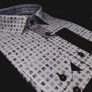 Koszule długi rękaw Koszula Męska Biała Czarne Kwadraty