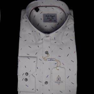 Koszule długi rękaw Koszula Męska Kudi Biała Gałązki