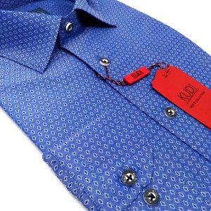 Koszule długi rękaw Koszula Kudi Niebieska Białe Romby