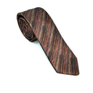 Krawaty Elegancki Krawat Brązowy Wzorek