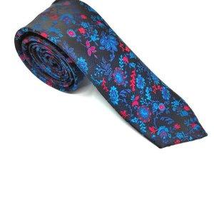 Krawaty Elegancki Krawat Granatowy Listki