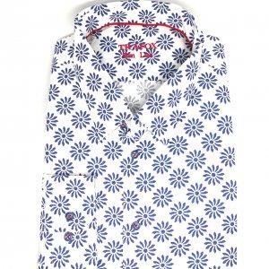 Koszule długi rękaw Koszula Trafox Biała Kwiatki