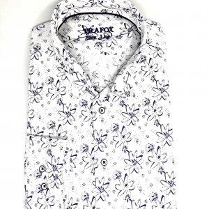 Koszule długi rękaw Koszula Trafox Granatowe Kwiatki