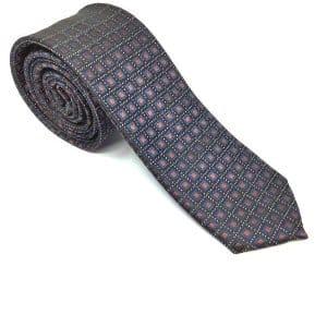 Krawaty Elegancki Krawat Czarny Brązowe Kwadraciki