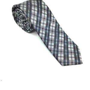 Krawaty Elegancki Krawat Szary Biało Różowa Kratka